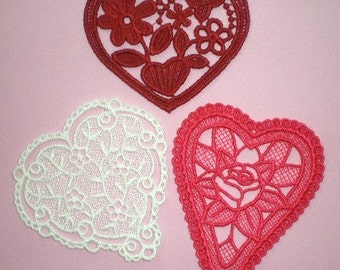 Embroidered Lace Hearts, Appliques, Decoration, Crazy Quilt, Embellishments, Set of Three