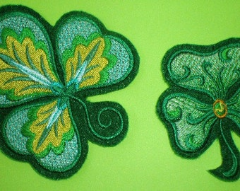 Beautiful Embroidered Iron On Shamrock Appliques for St. Patrick's Day, Irish, Green