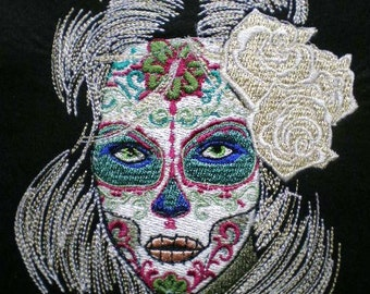 Embroidered Applique Day of the Dead Patch, Skull Face, Dia de los Muertos, Gothic, Biker, Mexico