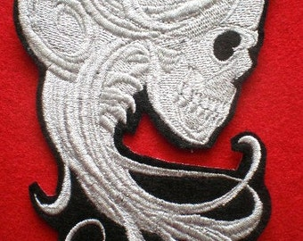 Large Embroidered Baroque Ghostly Skeleton Lady Applique Patch, Gothic, Skull, Iron On Patch