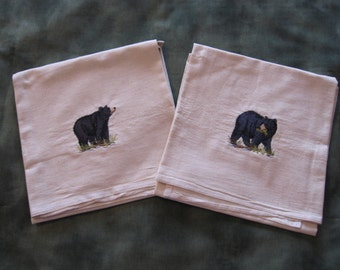 Pair of Black Bear Machine Embroidered Flour Sack Dish Towels