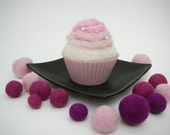 Cupcake Pincushion - Hand felted cupcake pincushion - needle felted pincushion
