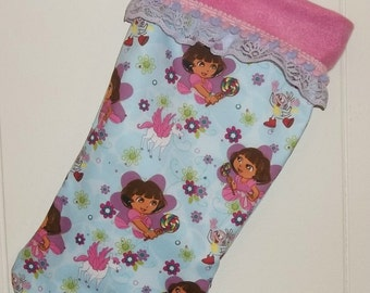 Dora the Explorer  Boots Lollipops Unicorns and Flowers Christmas Stocking FREE Shipping to USA