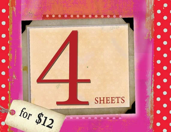 DISCOUNT BUNBLE - CLICK here for 4 sheets for 12 USDollars offer on MagentaBelle Digital Collage Sheets  - Printable Download