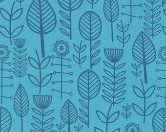 Summersville Spring for Moda Fabrics - Aqua Flowers  - 1/2 yard cotton quilt fabric 315