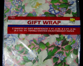 2 Vintage Sheets White, Purple Flowers On Pink Gift Wrap Paper