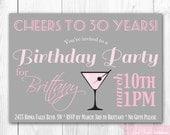 Chic Cocktail Birthday Invitation. 30th Birthday Invitation. DIY Printable Birthday Party Invite.
