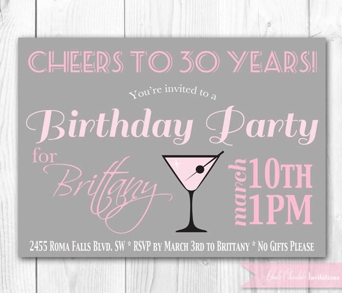 Chic Cocktail Birthday Invitation 30th Birthday Invitation – Invitations 30th Birthday Party