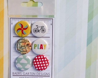 """Badges / Flair buttons """"Bike Season"""" - Summer - Play - Spring - Bright Colors"""