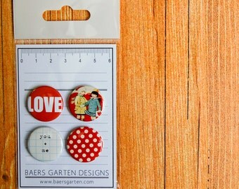 Badges / Adhesive buttons Love / Valentines Day / Vintage Valentines