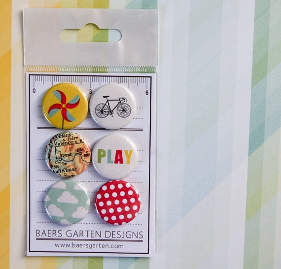 "Badges / Flair buttons ""Bike Season"" - Summer - Play - Spring - Bright Colors"