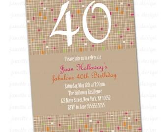 Custom Birthday Party Invitation Digital Printable, 40th, 50th, 60th, 70th....