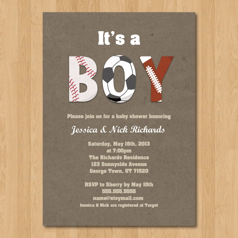 Baby Shower Invitations Wording For Boys: Sports Boy Baby Shower Invitation Digital By JanetteChiuDesign