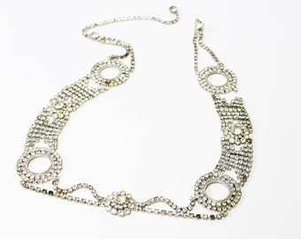 1950s rhinestone belt necklace hobe medallions rhodium plate adjustable
