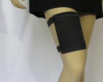 8 oz Flask garter Holster, choose your Size, Black Thigh Purse bag