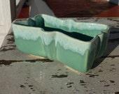 UPCO seafoam planter with drip glaze