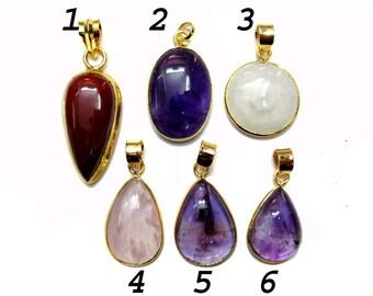 24 kt. Yellow Gold Plated Bezel Gemstone Pendants , 30x20 mm Tear Drop Shape Semi Precious Faceted Gem Stone Dangle Pendant Jewelry