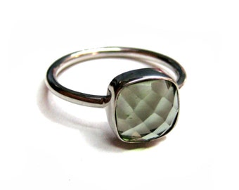 925 Sterling Silver Green Amethyst Quartz Ring , Fine Quality Chekker cut Faceted Cushion Shape stone Hand made Stackable Ring