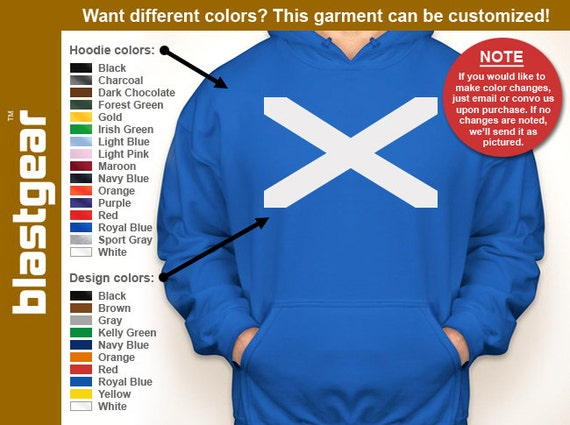 Flag of Scotland hooded sweatshirt — Any color/Any size - Adult S, M, L, XL, 2XL, 3XL, 4XL, 5XL  Youth S, M, L, XL
