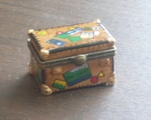 Vintage 1960's Travel Trunk Trinket Box Jewelry Box with Passport
