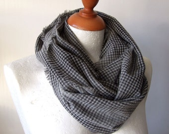 The finest Italian wool unisex infinity scarf / ombre shades of gray grey loop circle scarf / check plaid scarf / winter fashion