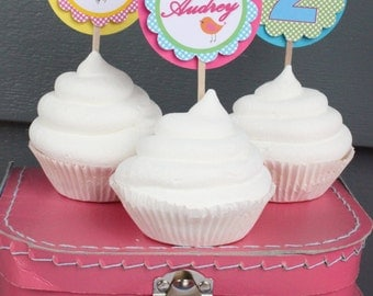 A LITTLE BIRDIE Birthday Party Cupcake Toppers 12 {One Dozen} - Party Packs Available