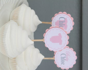 SUGAR AND SPICE It's A Girl Baby Shower Cupcake Toppers Set of 12 {One Dozen} - Party Packs Available