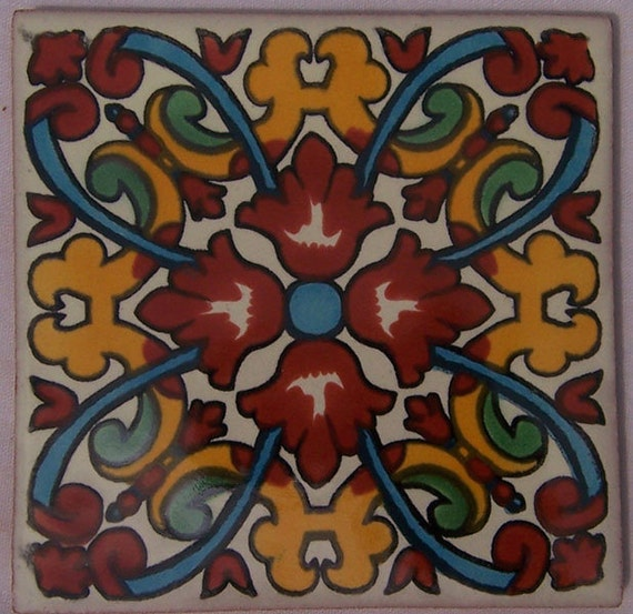 Spanish mediterranean decor 90 mexican hand painted talavera for Spanish decorative tile