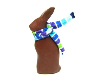 Pusinka - tiny chocolate brown bunny rabbit sculpture OOAK hand made sculpture polymer clay Easter