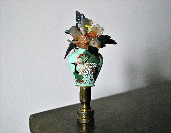 Cloisonn 233 Lamp Finial With Peacocks And Glass By Gladysglover