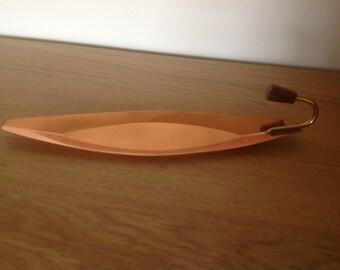 Small vintage midcentury tray with  teak handle
