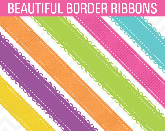 80% OFF Sale Clipart Bright Ribbon Borders Digital Scrapbook ...