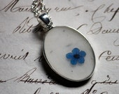 pressed flower handmade blue forget me not jewelry collection pendants bridal wedding cornflower summer romance