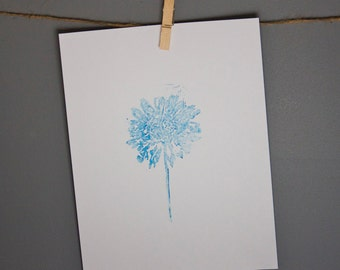 blue and white botanical print for your home office bedroom library real pressed flower design daisy