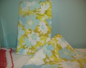 Vintage 1960's Aqua & Green flowered Pillowcases