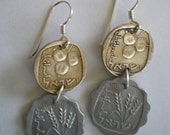 Israel Double Coin Earrings-Sterling Silver Ear Wires