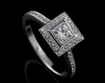 14K White Gold Art Deco Style Princess Cut Diamond Square Halo Engagement Ring