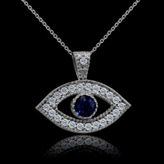 evil eye necklace diamond blue sapphire evil eye pendant. Black Bedroom Furniture Sets. Home Design Ideas