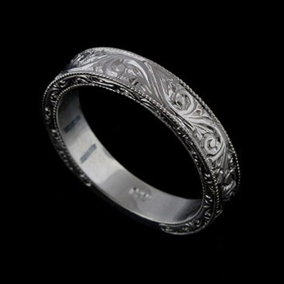 Engraved Men's Wedding Ring Vintage Style Crafted