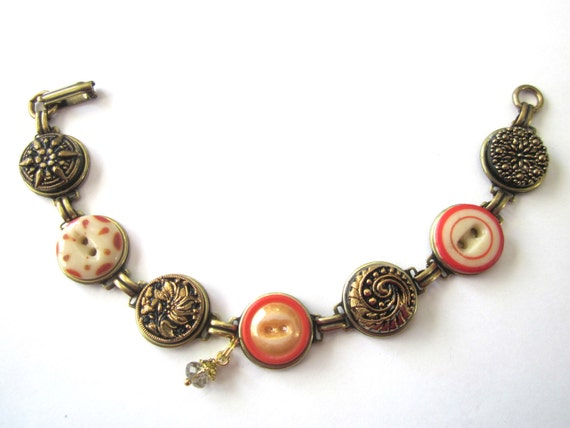 Antique button bracelet, Trendy Tangerine. 1800s buttons, intricate glass buttons