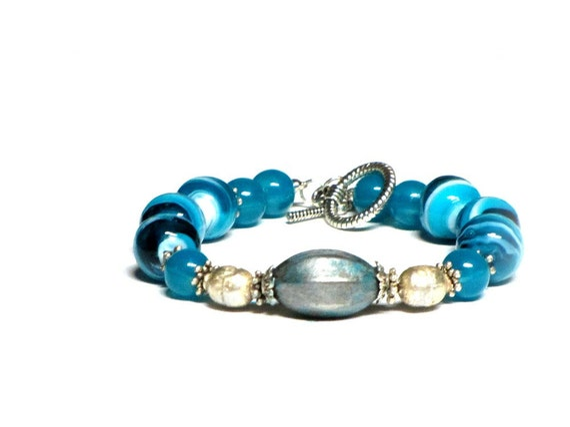 Aqua Blue Glass Bracelet, Aqua Marble Swirl, Aqua White Silver, Glass Beaded, Aqua for Spring