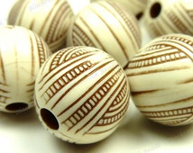 12mm Opaque Ivory White and Chocolate Brown Engraved Acrylic Beads - 20pcs - Round, Stripes - BK10