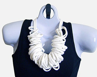 Tshirt FABRIC NECKLACE, White, Tshirt Scarf, Recycled fabric. Ready to Ship. (See Pic #5 for Optional Styling)