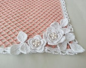 Square Lace Doily with Swarovski Pearls Peach Tablecloth Table Decor Home Decor Bridal Shower Gift