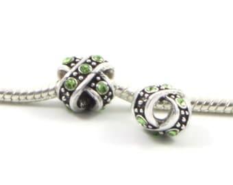 3 Beads - Green Rhinestone Cross X Silver European Charm Bead E0427
