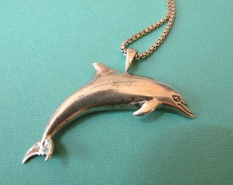 Sterling Silver DOLPHIN Pendant on a 30 inch Italian Boxlink Chain
