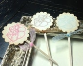 Baby booties Cupcake toppers- Baby cupcake toppers-baby shower favors-set of 12
