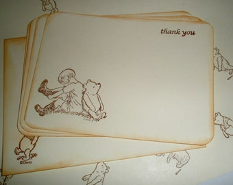 Winnie the Pooh Thank you note cards-Thank you card set-Pooh stationery-Set of 10