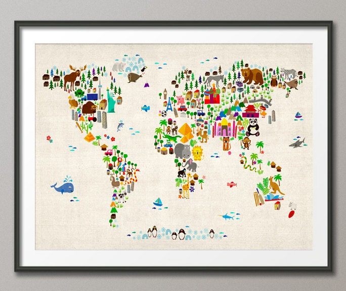 Animal Map of the World Map for children and kids Art Print