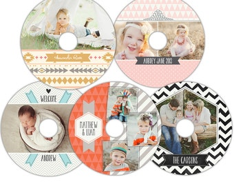 Instant download - CD/DVD Label templates - Charming memories-  E853